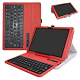 at&T Primetime Tablet Bluetooth Keyboard Case,Mama Mouth Slim Stand PU Leather Cover with Romovable Bluetooth Keyboard for 10'' at&T Primetime Tablet,Red