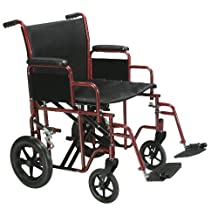 """Bariatric Heavy Duty Transport Wheelchair with Swing Away Footrest, 22"""" Seat, Red"""