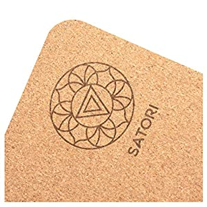 "SatoriConcept Cork Yoga Mat – 100% Eco Friendly Cork & Rubber, Lightweight with Perfect Size (72"" x 24"") and 4mm Thick…"
