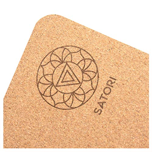 SatoriConcept Cork Yoga Mat – 100% Eco Friendly Cork & Rubber, Lightweight with Perfect Size (72″ x 24″) and 4mm Thick, Non Slip, Sweat-Resistant, Innovative Exercise Mat for Hot Yoga, Outdoor Fitness