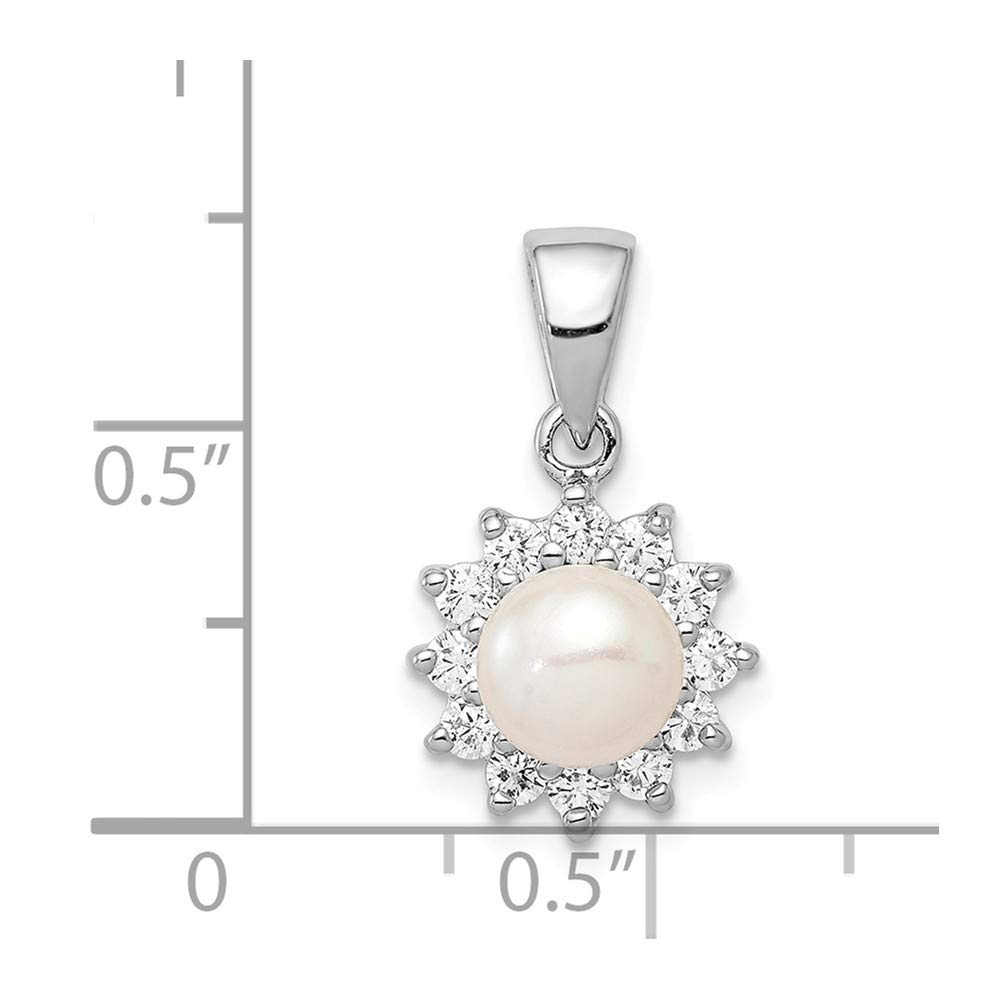 12mm x 14mm Sterling Silver FW Cultured Pearl /& CZ Cubic Zirconia Pendant