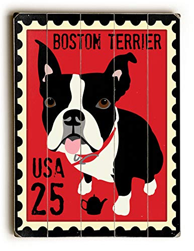 Terrier Postage Stamp - ArtFuzz Boston Terrier Postage Stamp - Wood Wall Decor by Ginger Oliphant 9 X 12