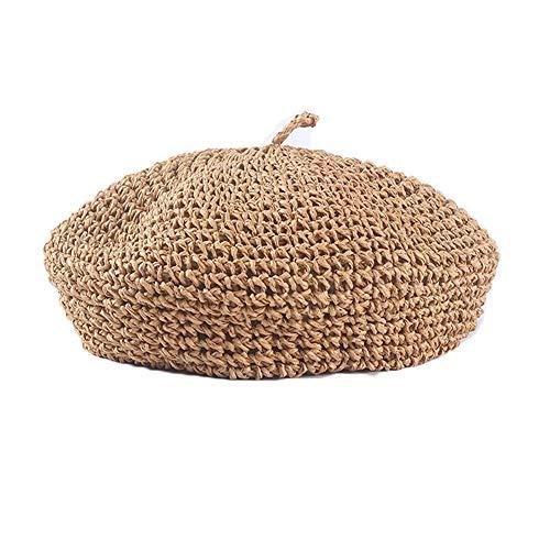 - JH JOEJERRY Straw Beret Summer French Beret Hats for Women Artist Crochet Beret Khaki