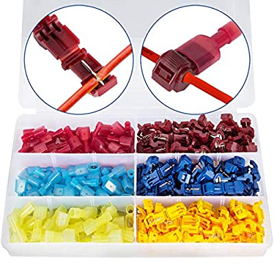 K Kwokker 240 Pieces T-Tap Wire Terminals Quick Splice Electrical Connectors Self-Stripping Nylon Fully Insulated Male Spade Disconnect Kit (Yellow, Red and Blue)