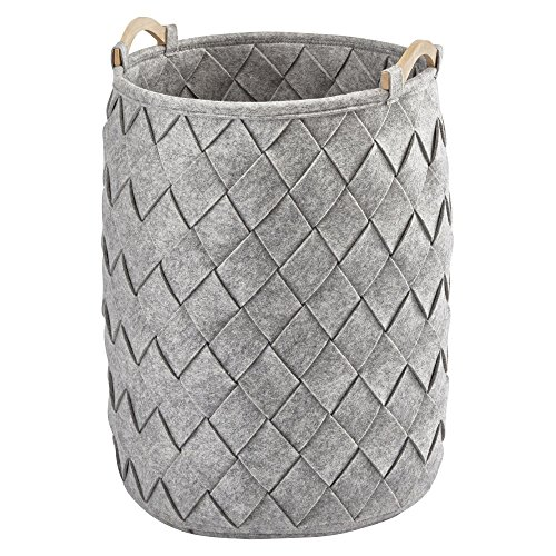 Nova Bath Collection Amy Polyester Round Hamper Laundry Organizer Basket with Wood Carry Handles (Light Gray)