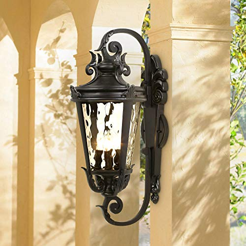 Casa Marseille Traditional Outdoor Wall Light Fixture Mediterranean Textured Black Double Scroll Arm 27 1/2