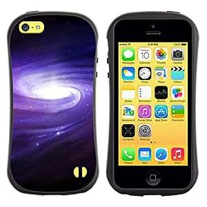 All-Round híbrido de goma duro caso cubierta protectora Accesorio Generación-I BY RAYDREAMMM - Apple iPhone 5C - Purple Blue Galaxy Space Cluster Spiraling Stars