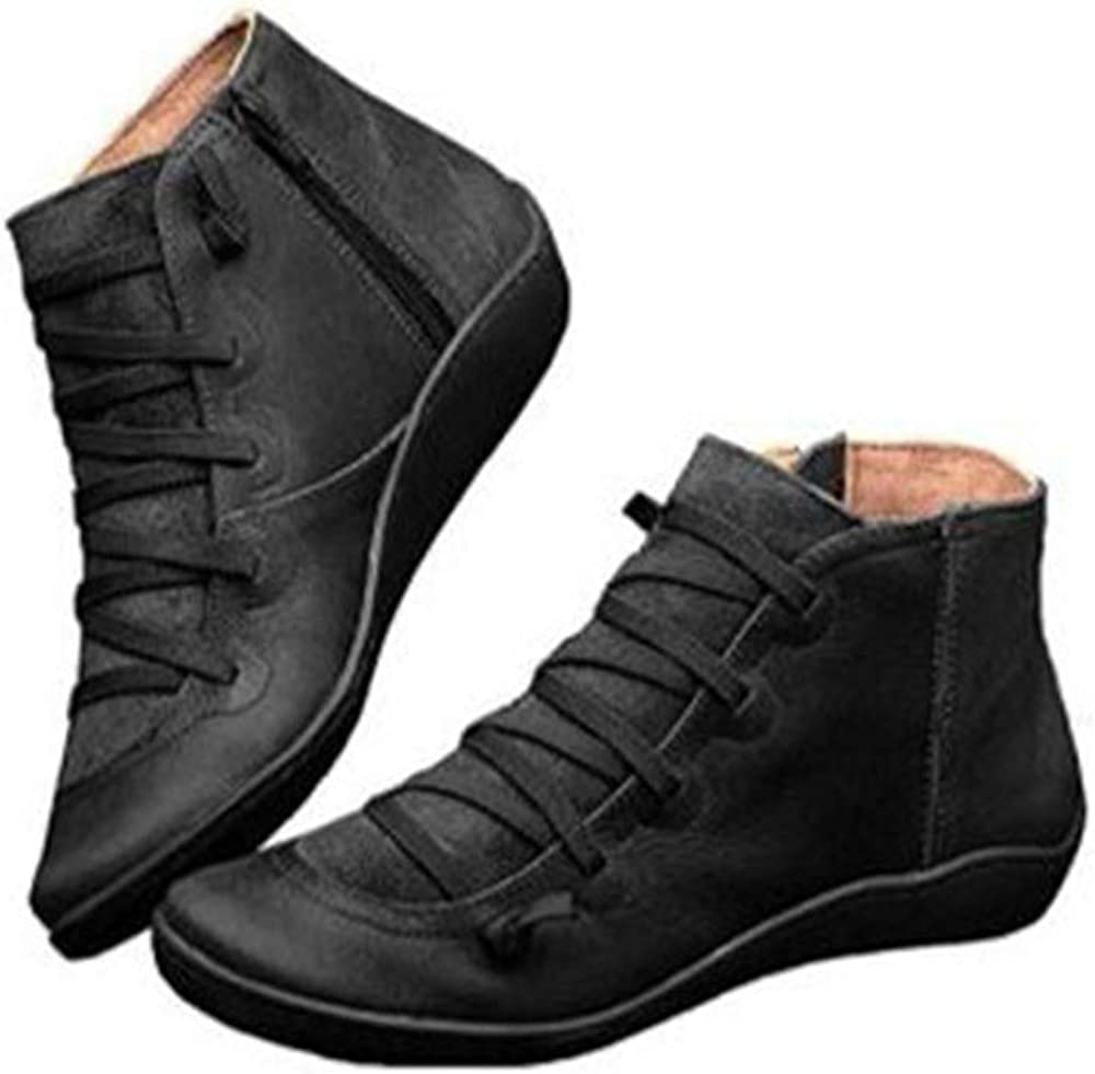 Yibaision Women Arch Support Boots Comfortable Ankle Wedge Short Booties Fashion Leather Waterproof Slip On Boots