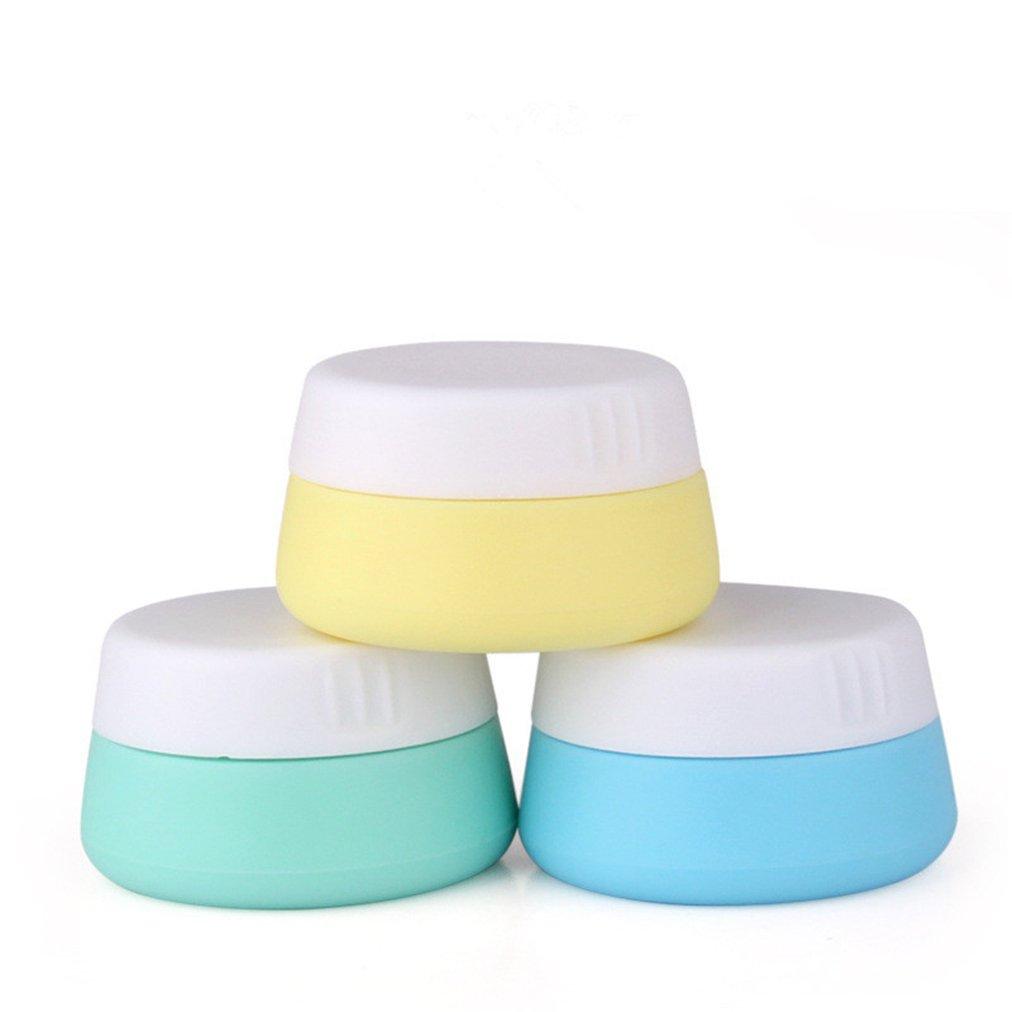 MKNzone Trois 10ml pot de crème cosmétique contenant des pots de silicone avec des couvercles scellés, idéal pour le stockage de cosmétiques, shampooing, lotion et revitalisant, etc
