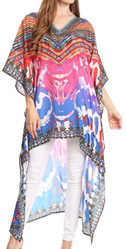 Rose Caftan - Sakkas P7 - HiLowKaftan Laisson Hi Low Caftan Dress Top Cover/Up Fit with Printed Pattern - WM111-Multi - OS