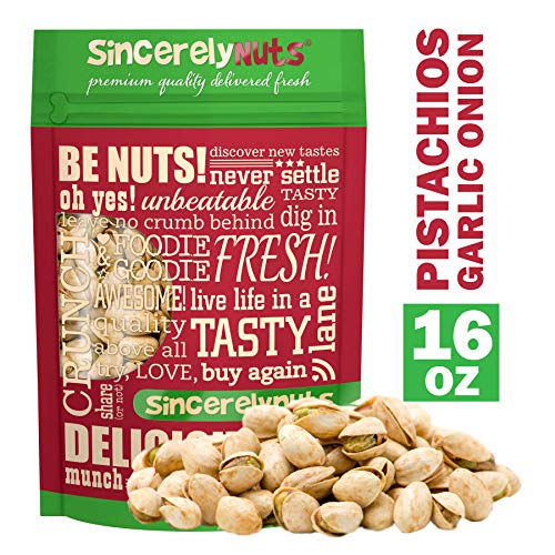 (Sincerely Nuts Garlic & Onion Pistachios in Shell - One Lb. Bag | Healthy Snack Food | Great for Cooking | Source of Fiber, Protein, Vitamins & Minerals | Irresistible Gourmet Flavor | Vegan, Kosher)