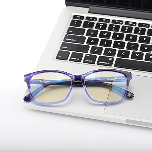 Kirka Blue Light Shield Computer Reading/Gaming Glasses - 0.0 Magnification - Anti Blue Light Protection Frame - Glasses Magnification No