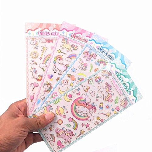 ol Laptop Sticker, Birthday Decor Food Travel Planner Sticker for Children,Unicorn Stickers Party Supplies Pack,70+ Count 4 Sheets (Computer Scrapbook)