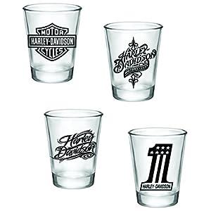Gift Pack - Harley Davidson Shot Glasses - Set of 4 (2oz) - Great Gift Idea