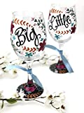 Set of 2 - Free Personalization - Hand Painted Sorority Big Little Floral Laurel Wine Glass Set