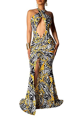 Remelon Womens Sexy Halter Cut Out Chain Zebra Print Ruched A-Line Mermaid Party Long Maxi Dress Black S