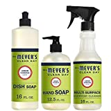 Mrs. Meyer's Clean Day Kitchen Basics Set, Lemon Verbena, 3 ct: Dish Soap (16 fl oz), Hand Soap (12.5 fl oz), Multi-Surface Everyday Cleaner (16 fl oz)