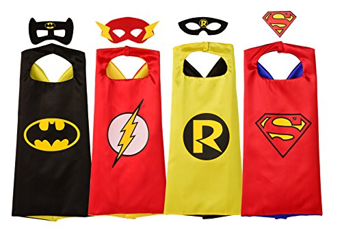 Rubie's Super Hero Cape Set Officially licensed DC Comics Assortment  4 Capes, 3 Masks, and 1 Chest Piece, One Size (Amazon Exclusive) -