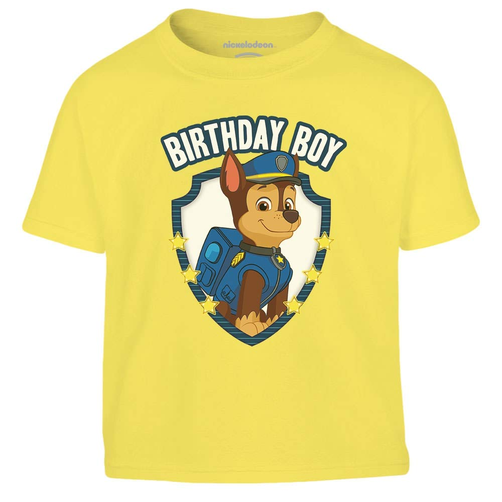 Chase Birthday Boy Paw Patrol Ufficiale Nickelodeon Maglietta per Bambini