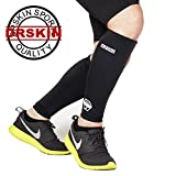 [DRSKIN] Calf Compression Sleeve - Men and Women's Leg Compression Sleeves - True Graduated Compression - Calf Guard Shin Splints Sleeves - Great for Basketball, Running, Baseball, Walking, Cycling, Training and Travel - Boosts Circulation - Aids Faster Recovery - 1 Pair (M, Black A)
