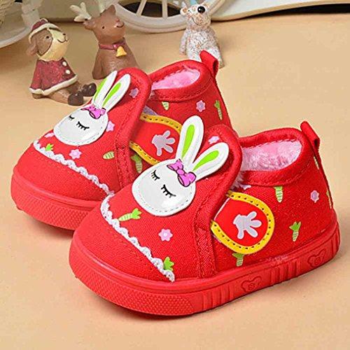 Zapatos Para Bebé,Xinantime Primeros Conejo Niños Niñas Invierno Pasos (19, Azul) Rojo