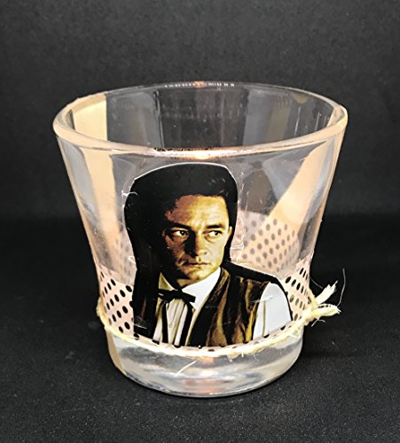 Man in Black Johnny Cash decoupage Portrait candle holder - Johnny Cash jar with twine and fabric tape