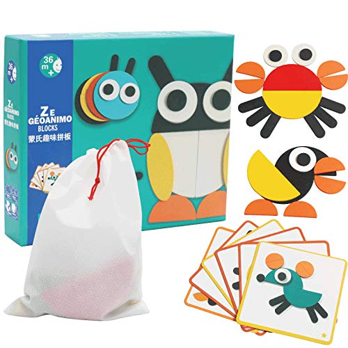 Creative Animal Geo Blocks Wooden Pattern Blocks Puzzles with 20 Designs for Preschool or Kindergarten Kids