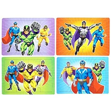 12 X Mini Super Hero Jigsaws Puzzles