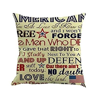"""RAINED-American Flag Pillow Cover for 4th July Independence Day Flag Day Star Stripe Square Throw Pillow Case 18""""x18"""""""