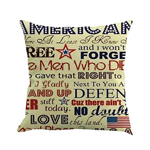 Leyorie American Flag Pillow Cover for July 4th Independence Day and Flag Day Decorative Stars and Stripes Square Throw Pillow Case Patriotic Cushion Cover 18x18 Inch (C)
