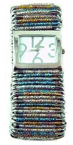 (PlanetZia Safety Pin Stretch Watch with Rock and Roll Bead Mix WT-RNR)