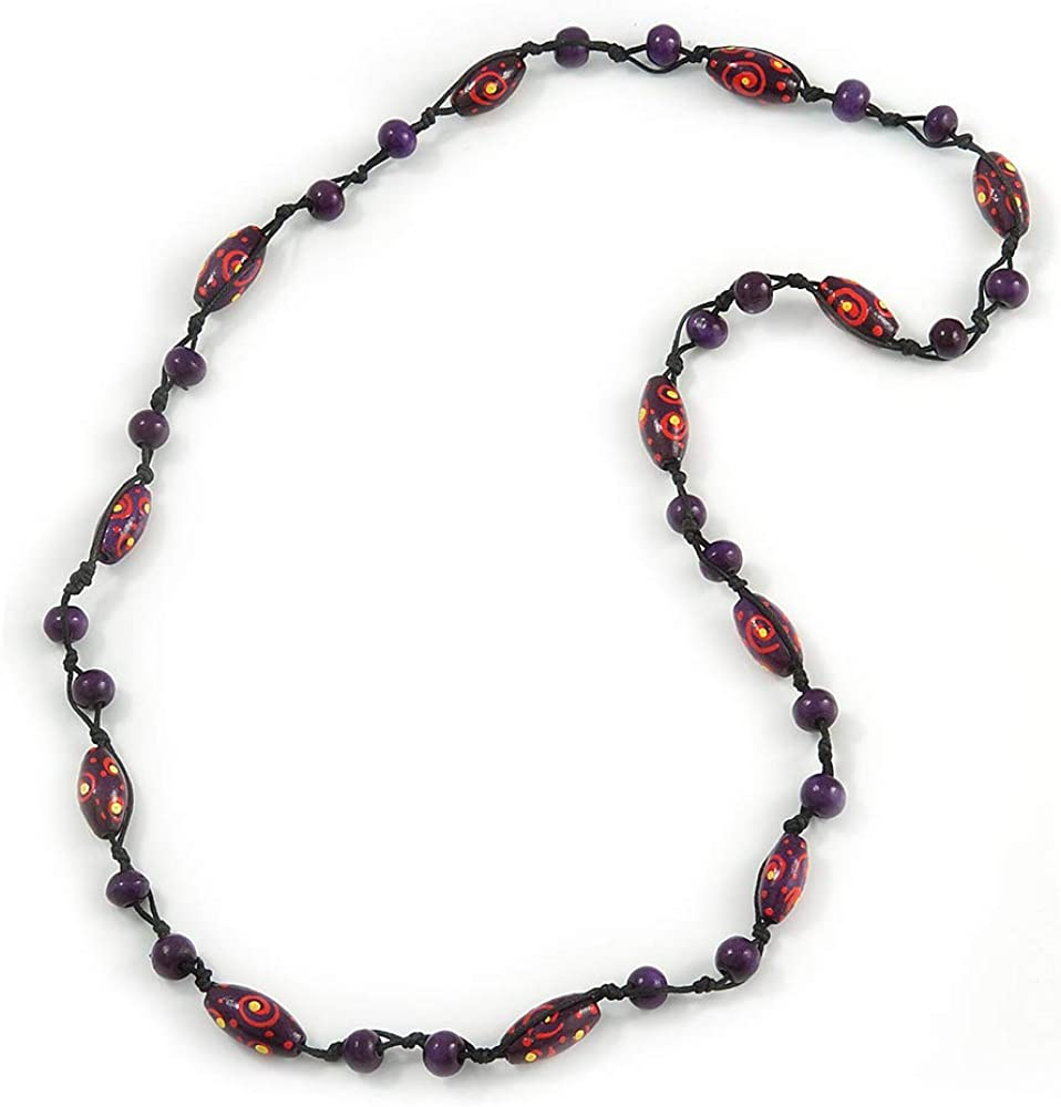 Long Purple Shell Nugget and Glass Crystal Bead Necklace 112cm L