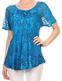 Sakkas Maliky Wide Corset Neck Floral Embroidered Cap Sleeve Blouse Top Shirt