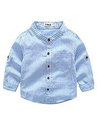 Toddler Boys' V-neck Button Down Shirt Long-sleeve Formal Tuxedo Stripe Dress Shirt Cotton Woven Shirt, Light Blue, 2-3T