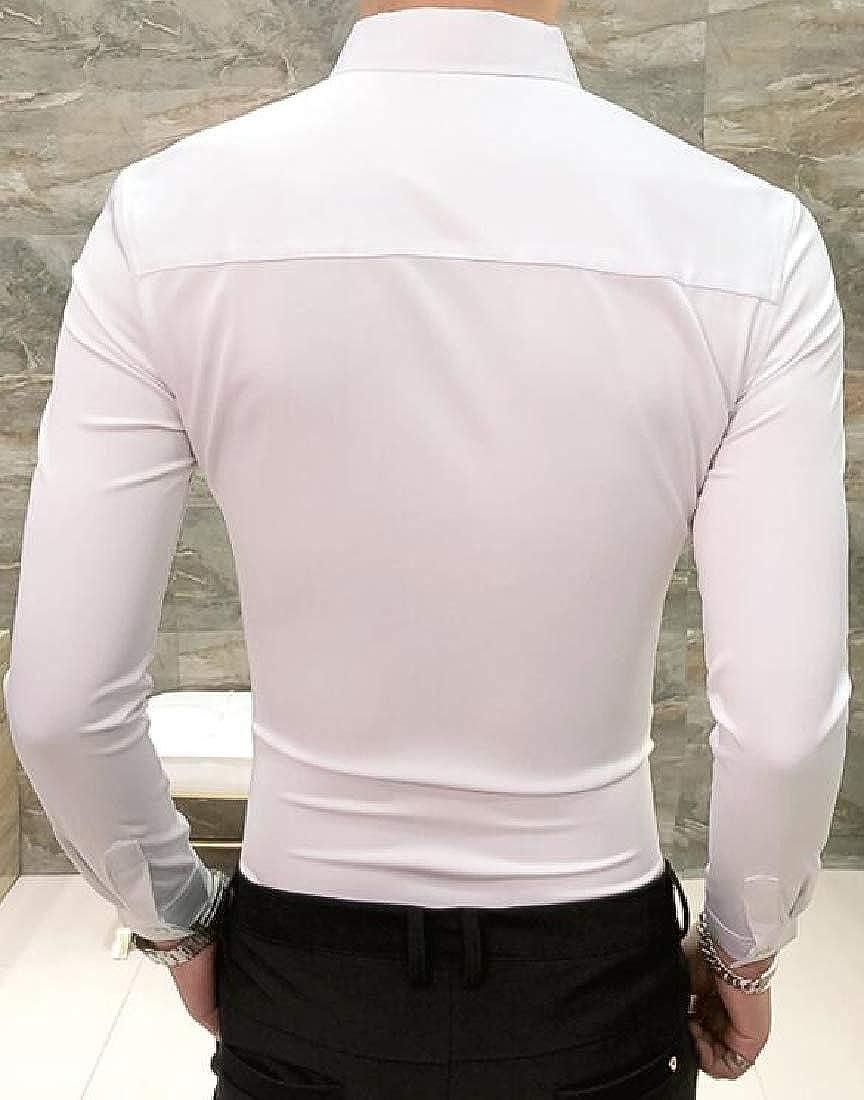 ARTFFEL Mens Slim Embroidery Club Plain Vogue Long Sleeve Button Down Blouse Shirt Tops