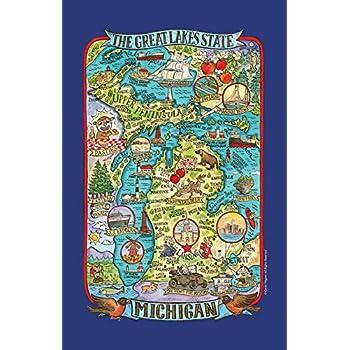 Kay Dee Designs Adventure Destinations Michigan Map Tea Kitchen Towel, 18
