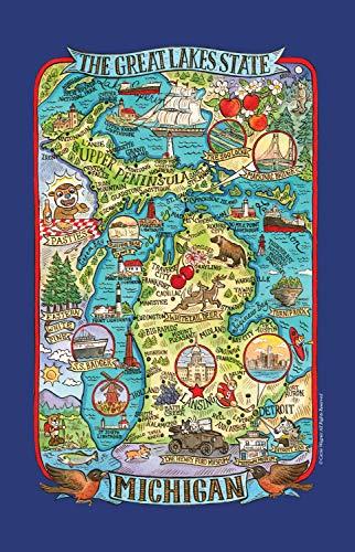 - Kay Dee Designs Adventure Destinations Michigan Map Tea Kitchen Towel, 18