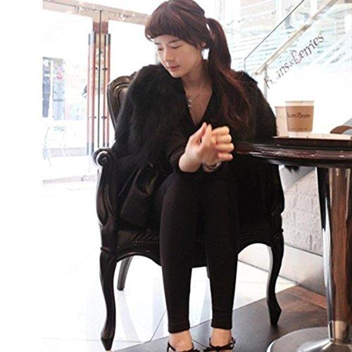de S sintética abrigo esponjoso de L suave y XL mujer Negro elegantes XXL XS OverDose piel abrigos M fvw7qf5