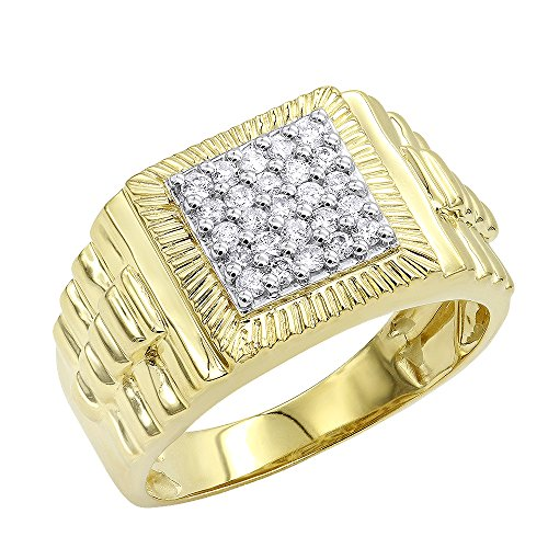 - Mens 10K Gold Diamond Band Pinky Ring 0.5ctw (Yellow Gold, Size 8)