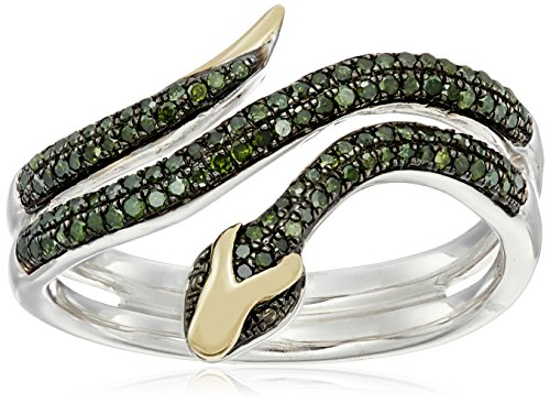 XPY Sterling Silver and 14k Yellow Gold Snake Wrapped in Green Diamond Ring (1/3cttw, I2-I3 Clarity), Size 7