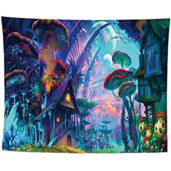 Psychedelic Mushroom Tapestry Trippy Colorful Surreal Abstract Astral Digital Art Office Electric Forest Wall Decor Tapestries Tapestry Wall Hanging Tapestries