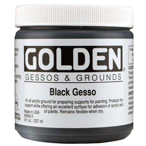 Gesso 8 Oz Jar (Golden 0003560-5 Acrylic Black Gesso Jar, 8 oz)