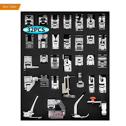 (Sewing Machine Presser Feet Set - oakome 32pcs Professional Domestic Sewing Presser Foot Set Tool, Silver (32pcs Presser Feet Set))