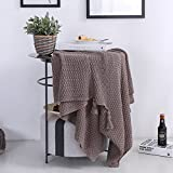 Coffee Knitting Fringe Blankets - 100% Cotton Pure Color Office Nap Blankets Leisure Blankets 51 X 67 Inch 1100G