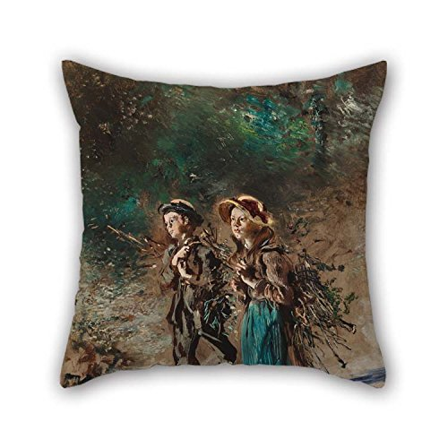 PLATIM Throw Cushion Covers of Oil Painting Anton Romako - Children with Brushwood 18 X 18 Inches / 45 by 45 cm Best Fit for Dance Room Girls Home Theater -