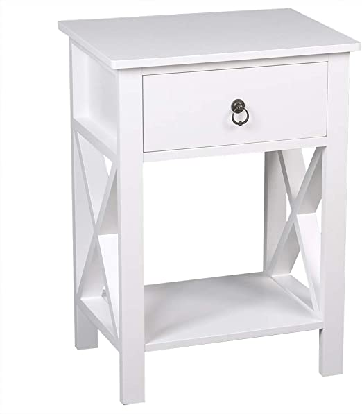 1Pc 2 Tier Nightstand End Table w// 1 Drawer 1 Basket Wood Bedside Sofa Table Org