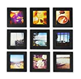 Golden State Art, Smartphone Instagram Frame Collection, Pack of 9, 4x4-inch Square Photo Wood Frame, Black