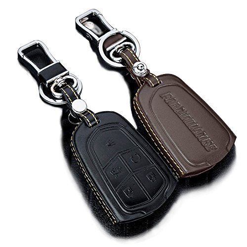 Leather Car Remote Key Holder Case Cover For CADILLAC XT 5 ATS CT6 XTS SRX Escalade GTS black coffee 5 Button (black)