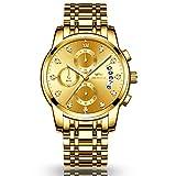 KASHIDUN Men's Watches Luxury Sports Casual Quartz Wristwatches Waterproof Chronograph Calendar Date Stainless Steel Band Black Color (B-Gold)