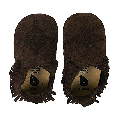 Bobux Leather Baby Shoes - Brown Suede Moccasin Loafer - Large 15-21 (Bobux Suede Shoes)